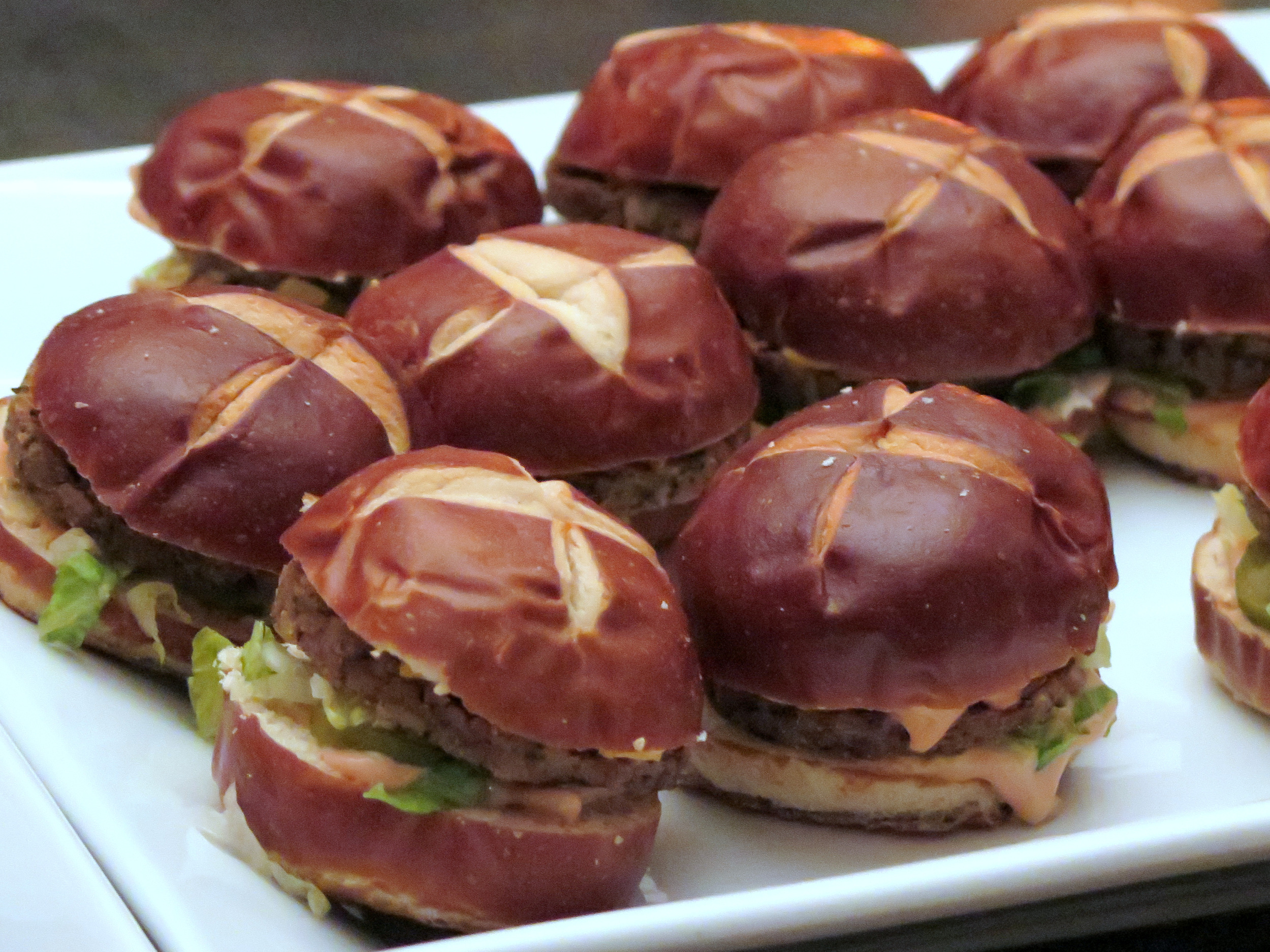 """""""Big Maque"""" Sliders by Chef Dave Anderson of (the opening soon) Fresh Soul Restaurant...a cruelty-free no-beef patty, special sauce, lettuce,cheese, pickles, onions on a pretzel bun!"""