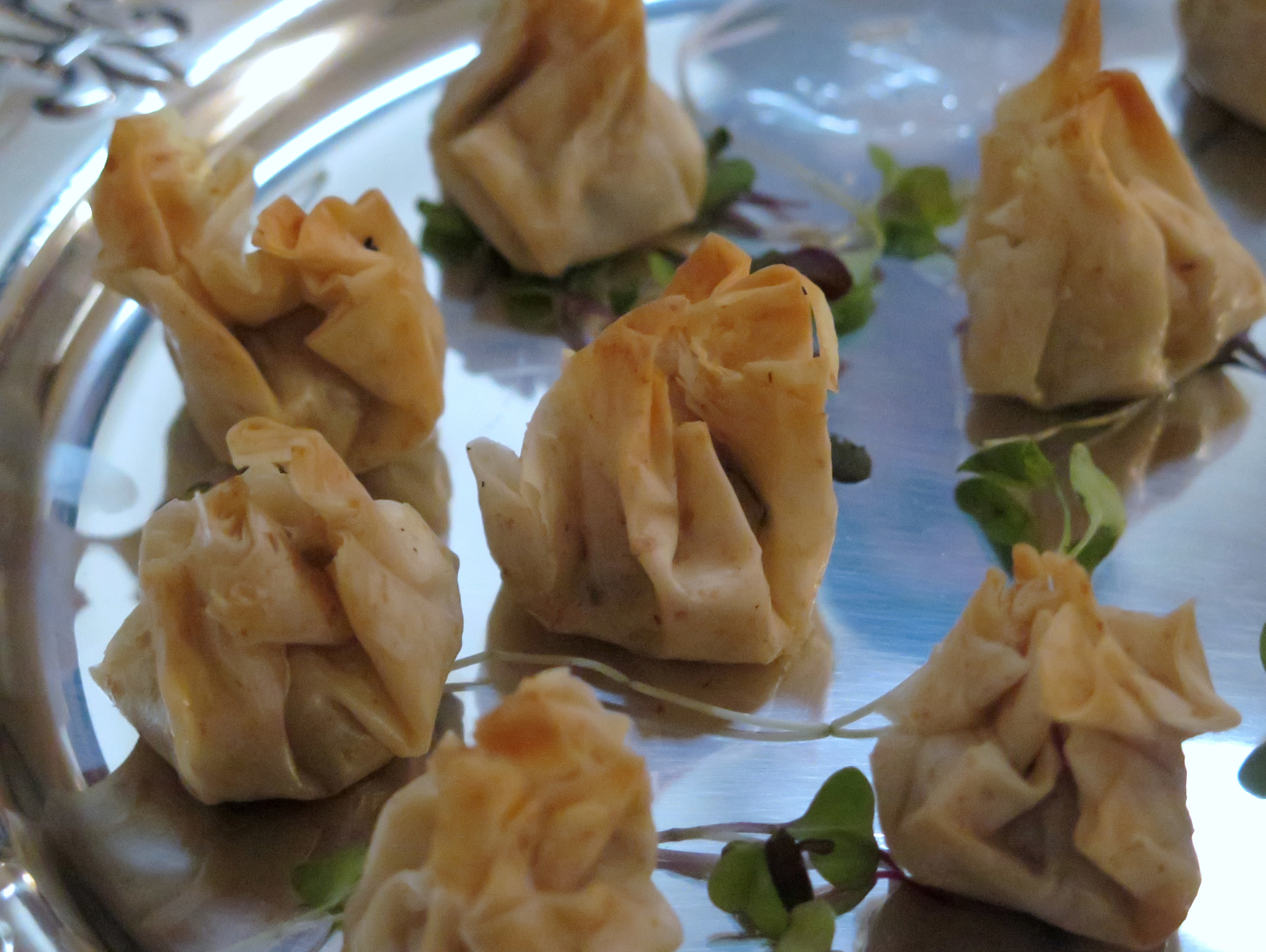 Actually, all of the passed hors d'oeuvres were great. This was a phyllo puff with mushroom and cashew cheese inside.