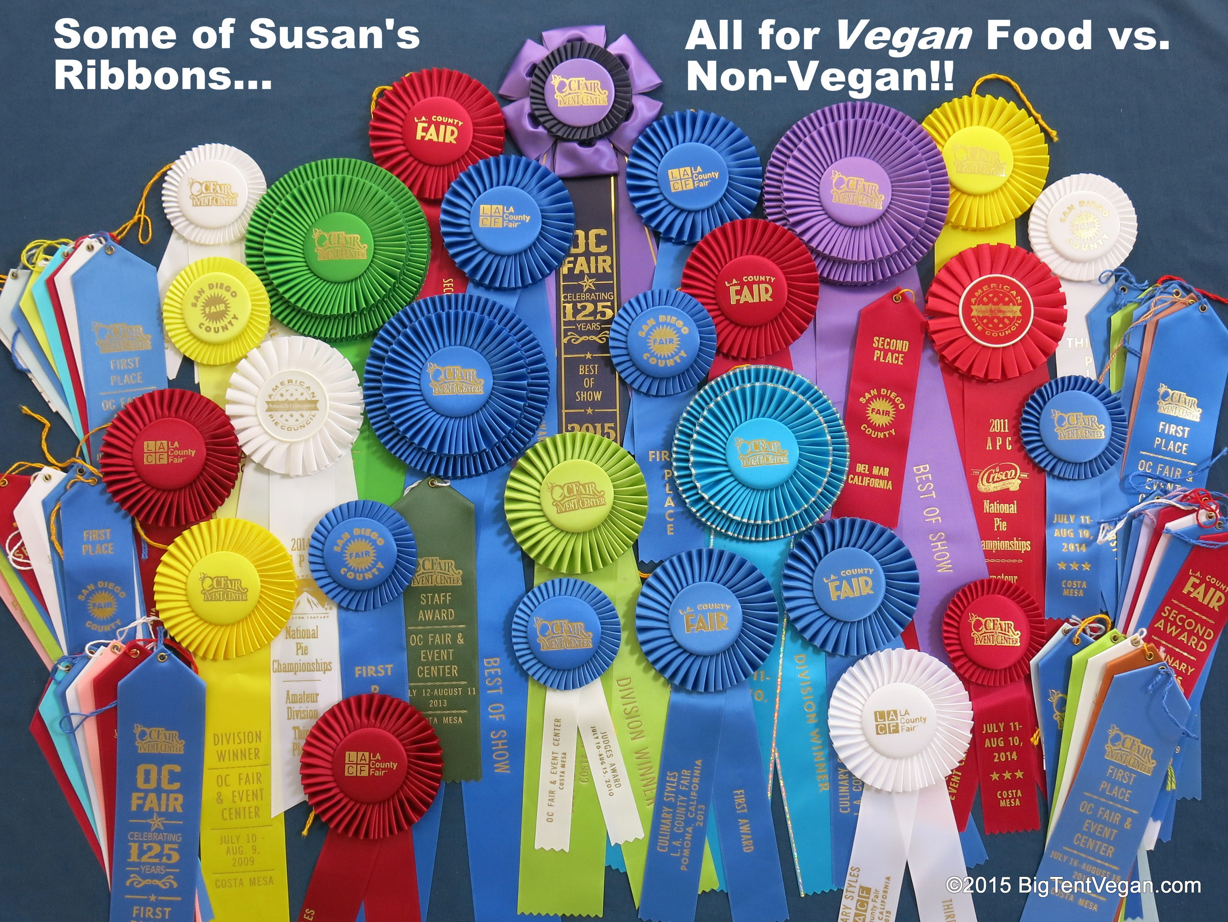 Some  of Susan's ribbons for cooking and baking,  all  for vegan food vs. non-vegan food!