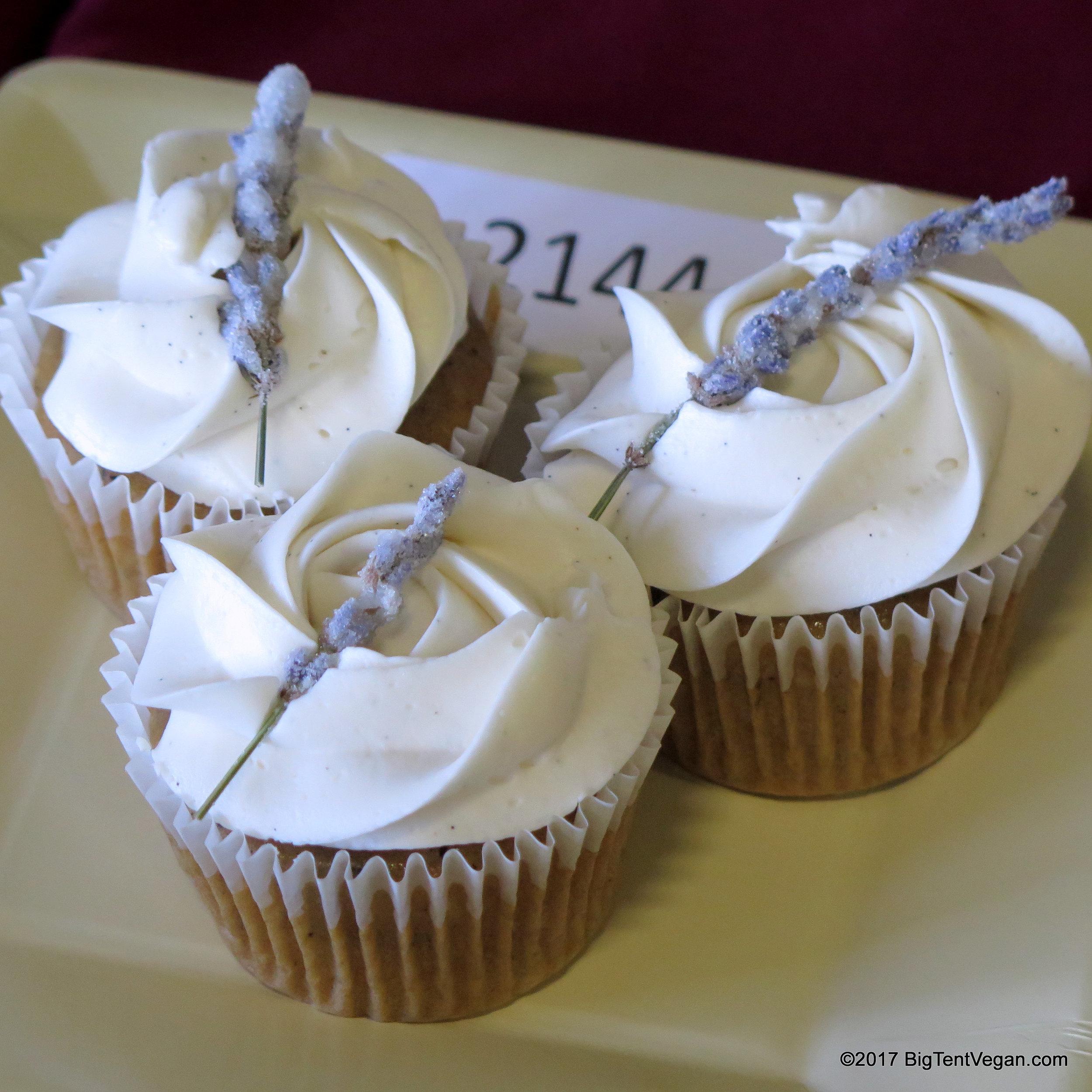 1st Place: Leanne Winslow -- Vanilla Earl Grey Cupcakes with Lavender Vanilla Swiss Meringue Buttercream