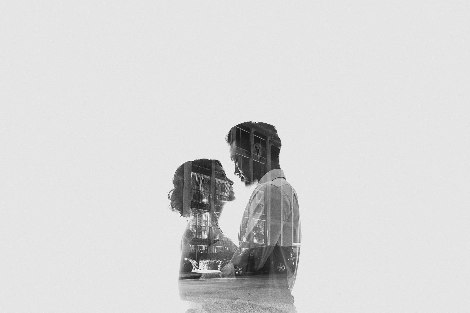double exposure creative wedding photo