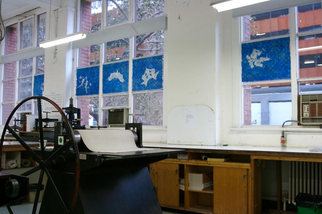 Stencilled Rorschach blots on handmade, hand printed woven paper strips. 2008.