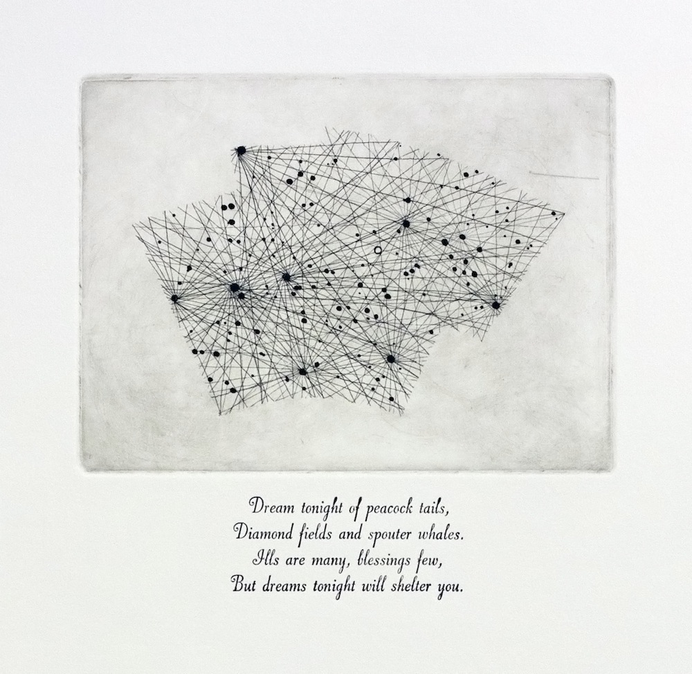 Pavo, 20h, -65°, SQ4, 44th  The Peacock Etching and letterpress on paper Edition of 5 Text from  V. , Thomas Pynchon