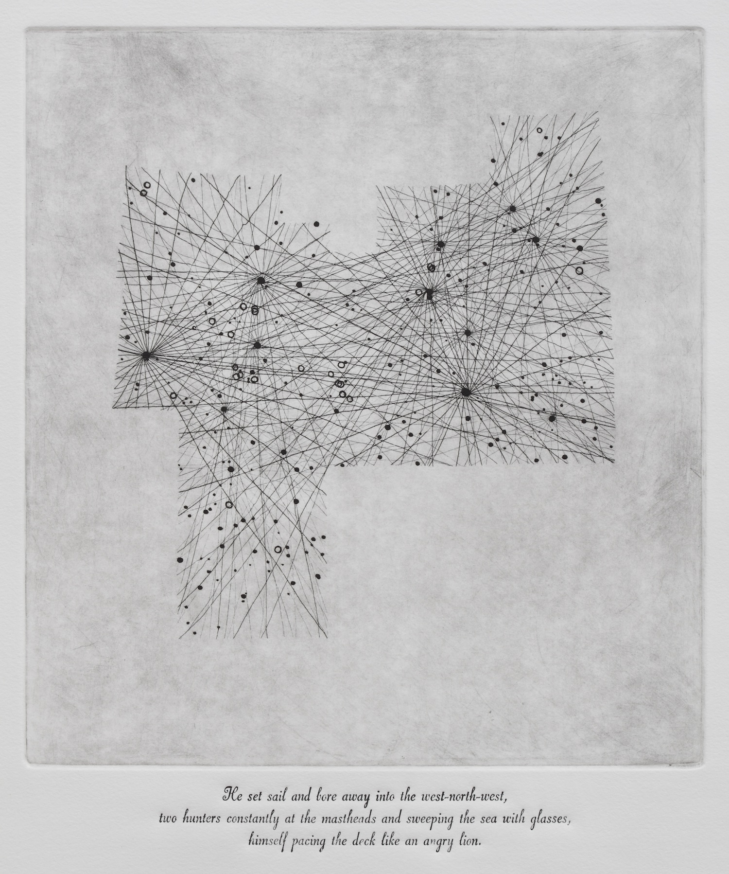 Leo, 11h, +15°, NQ2, 12th  , etching and letterpress print on paper, 2013. Photo: Tim Gresham.