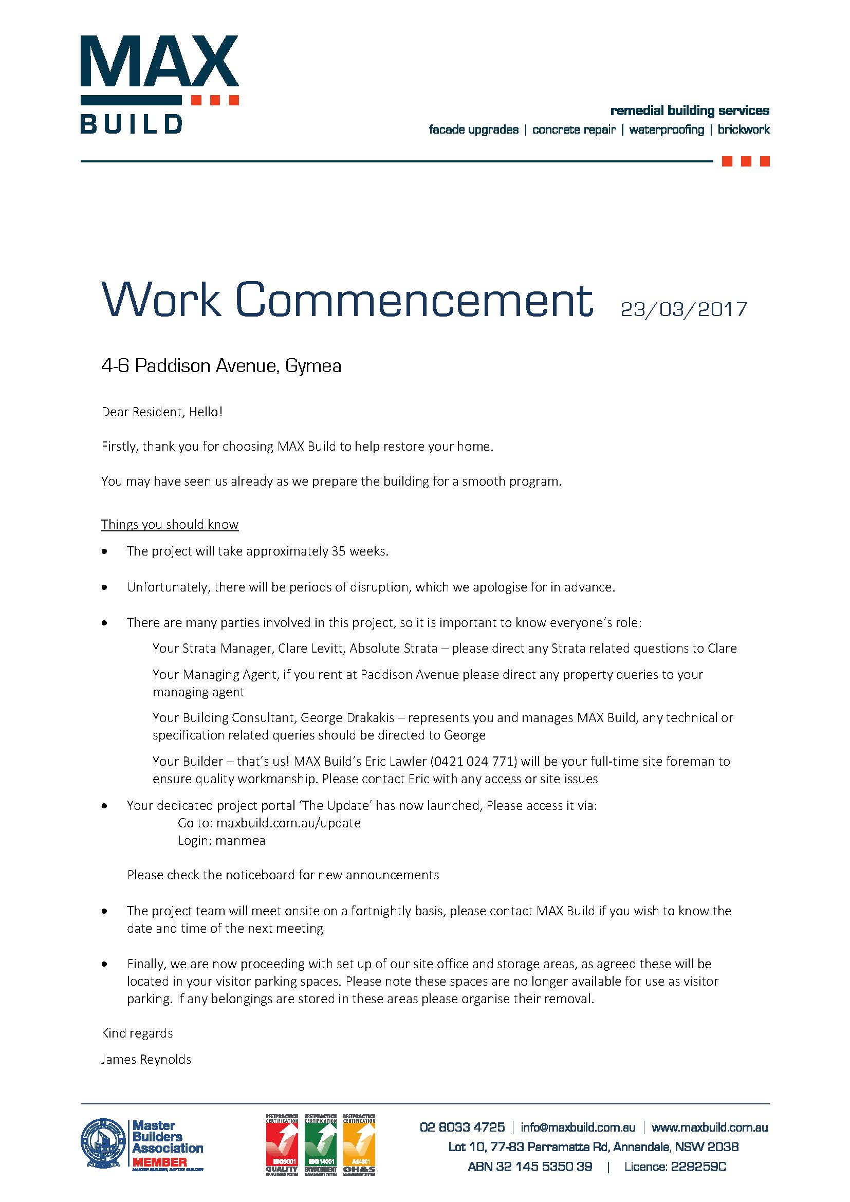 Work commencement Notice