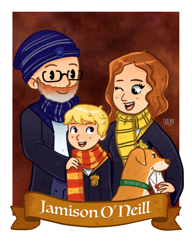 Commission: Family in Harry Potter Attire