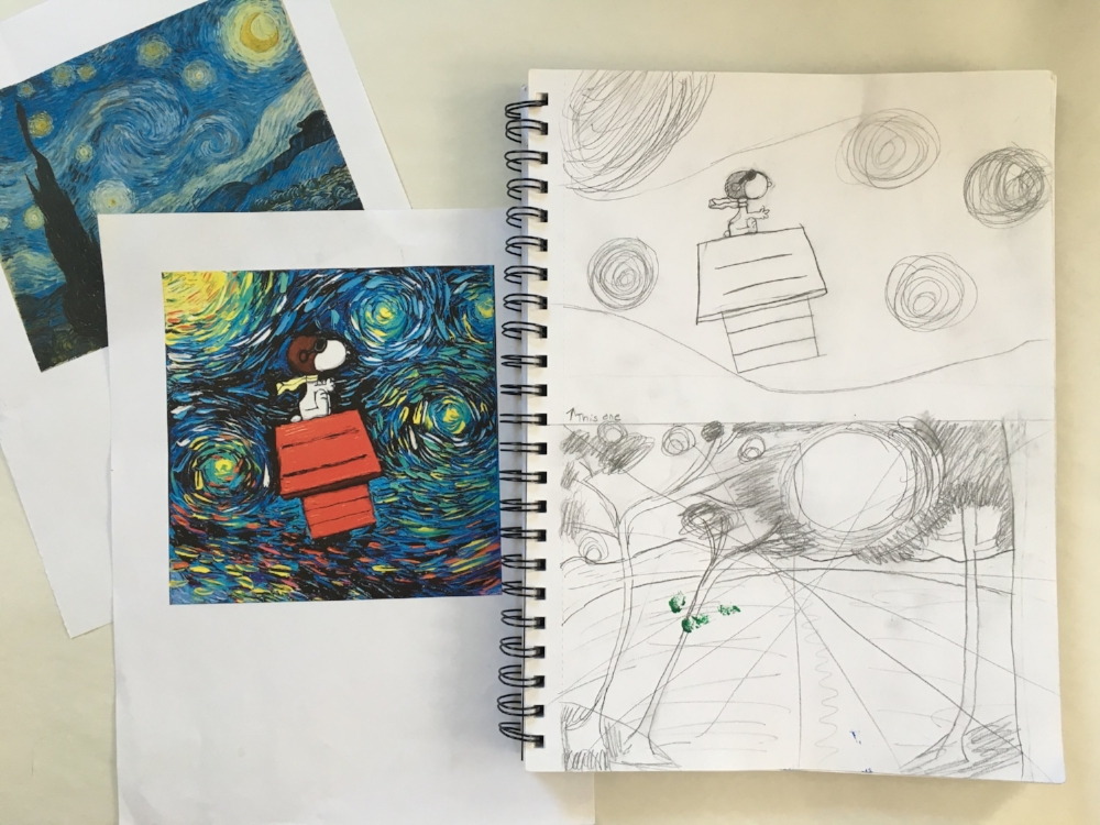 Inspiration and Sketches for Starry Night Snoopy Painting