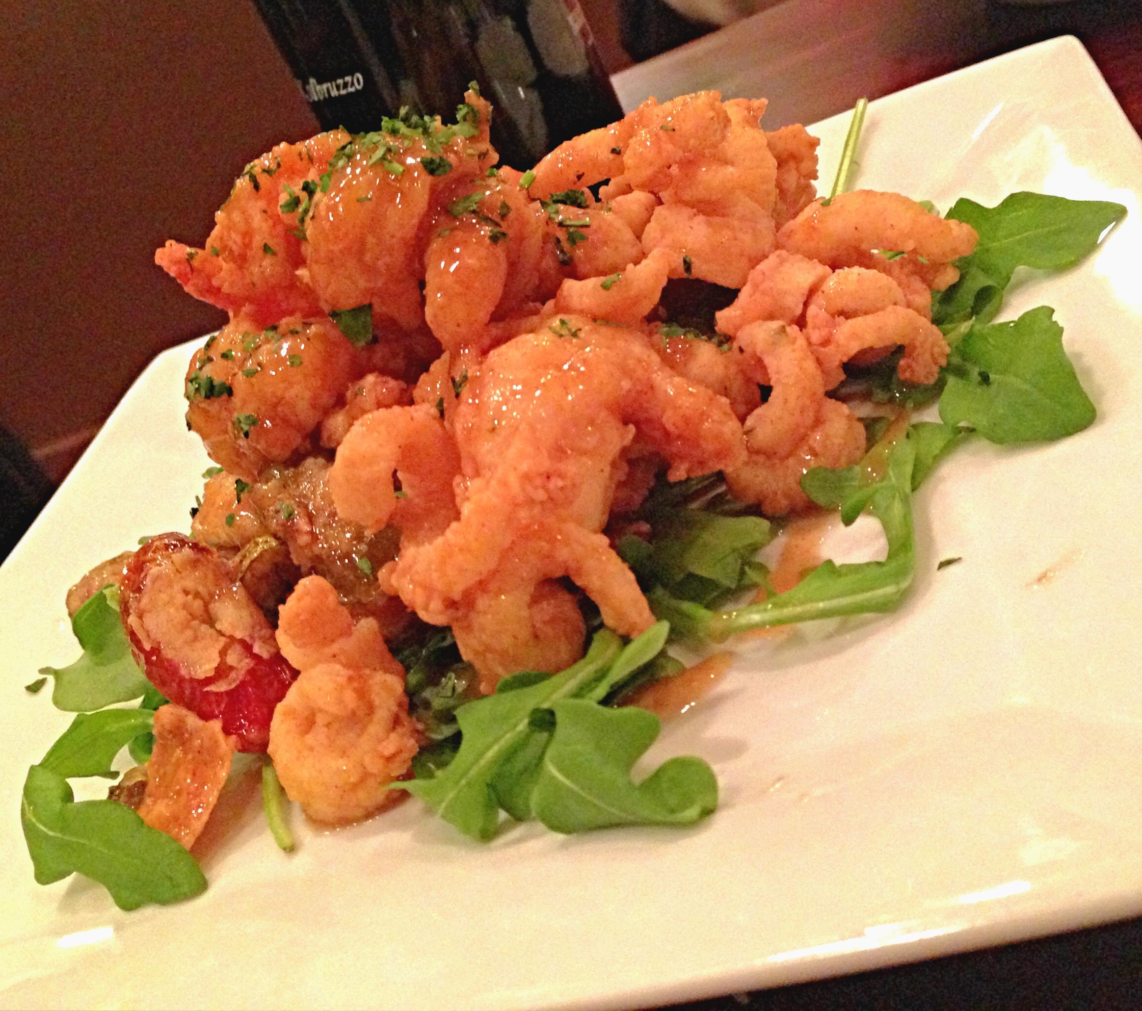 Calamari and shrimp in mustard sauce