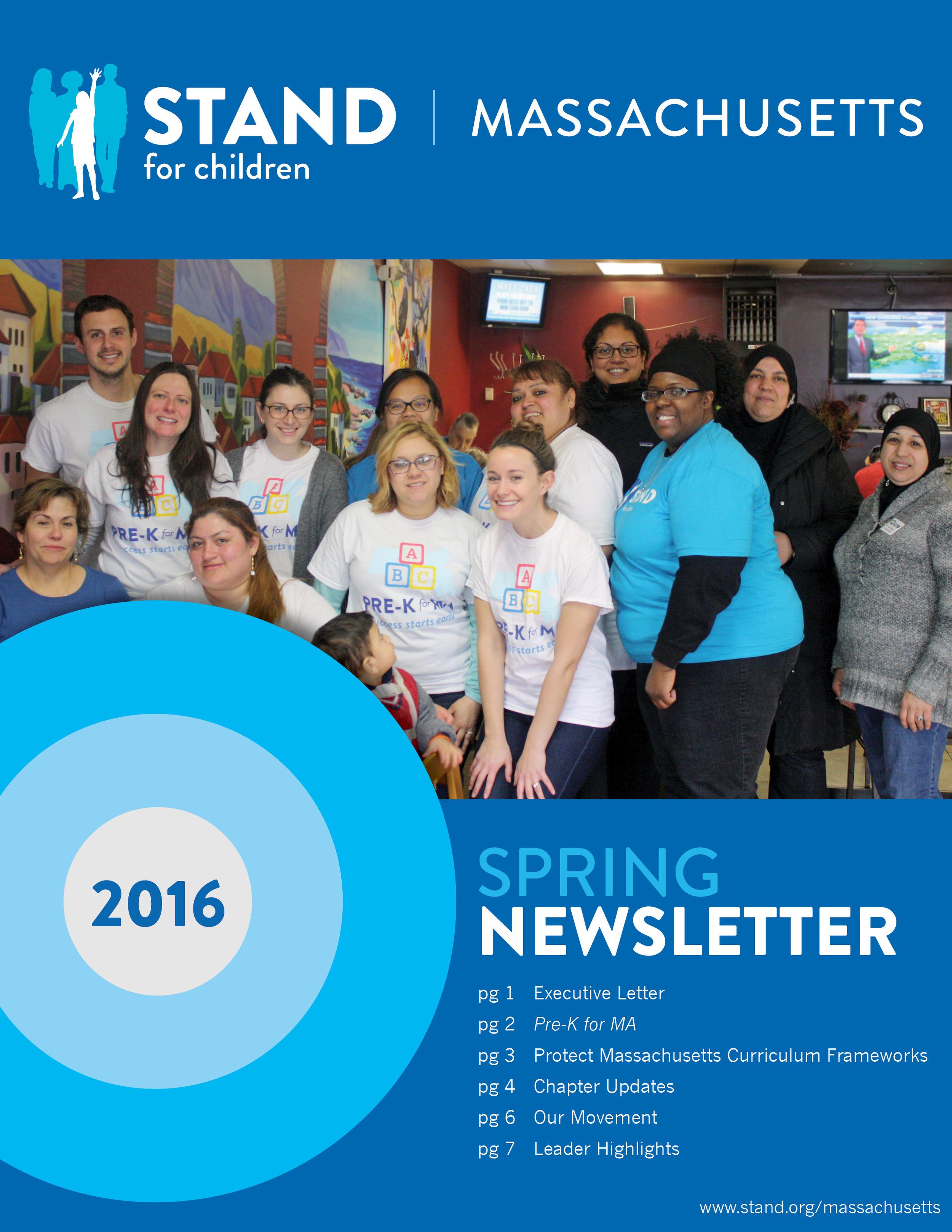 Stand for Children Massachusetts, Spring Newsletter