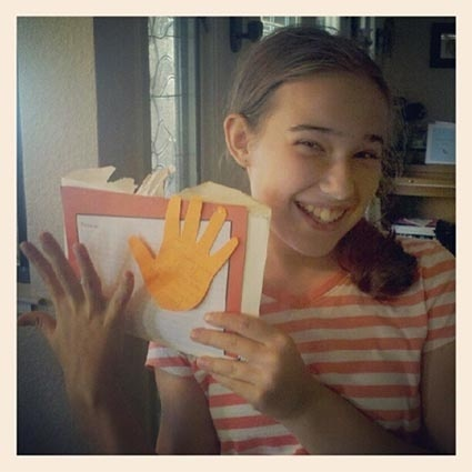 Kelsey with traced hand