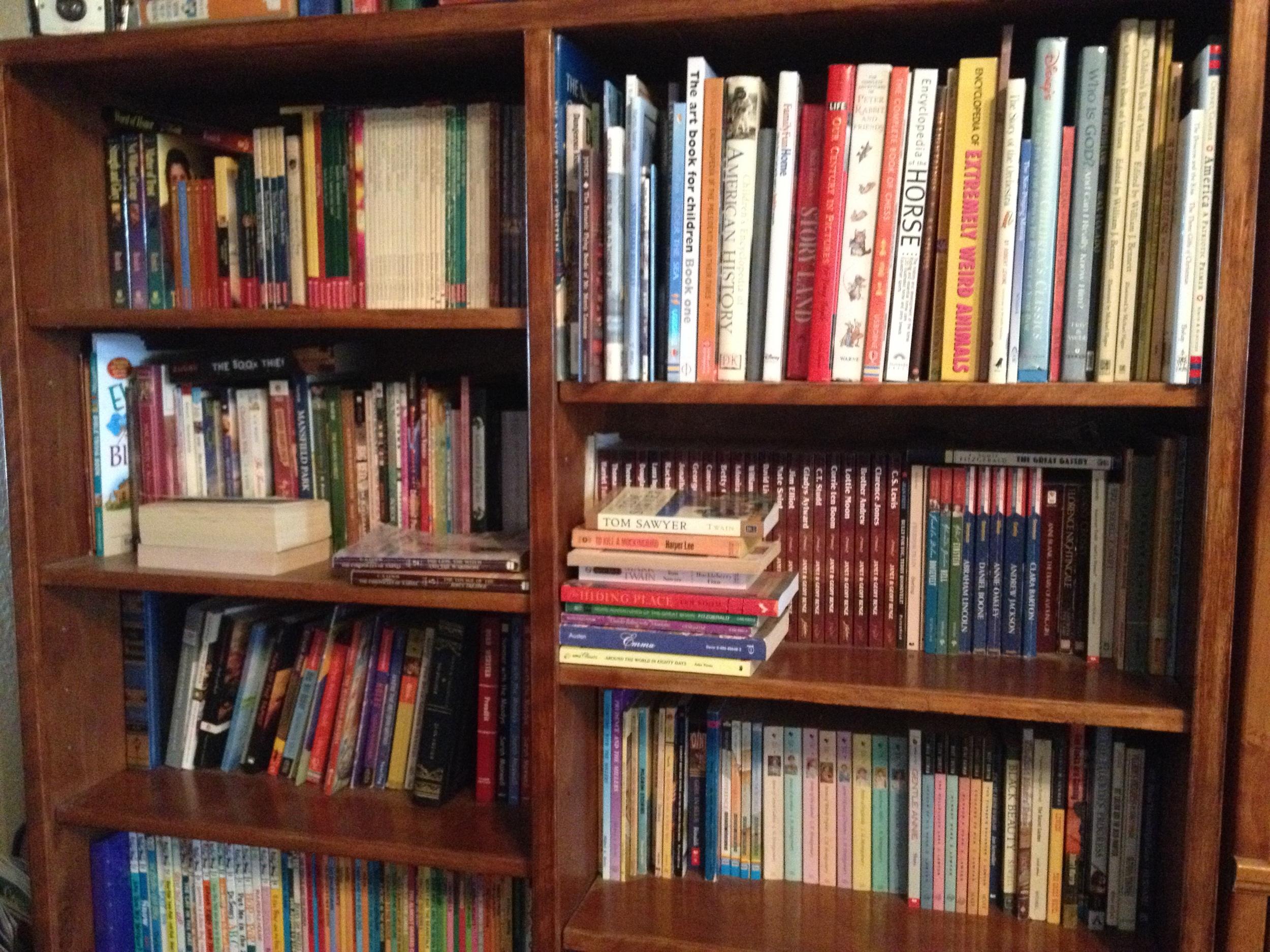 one full bookshelf