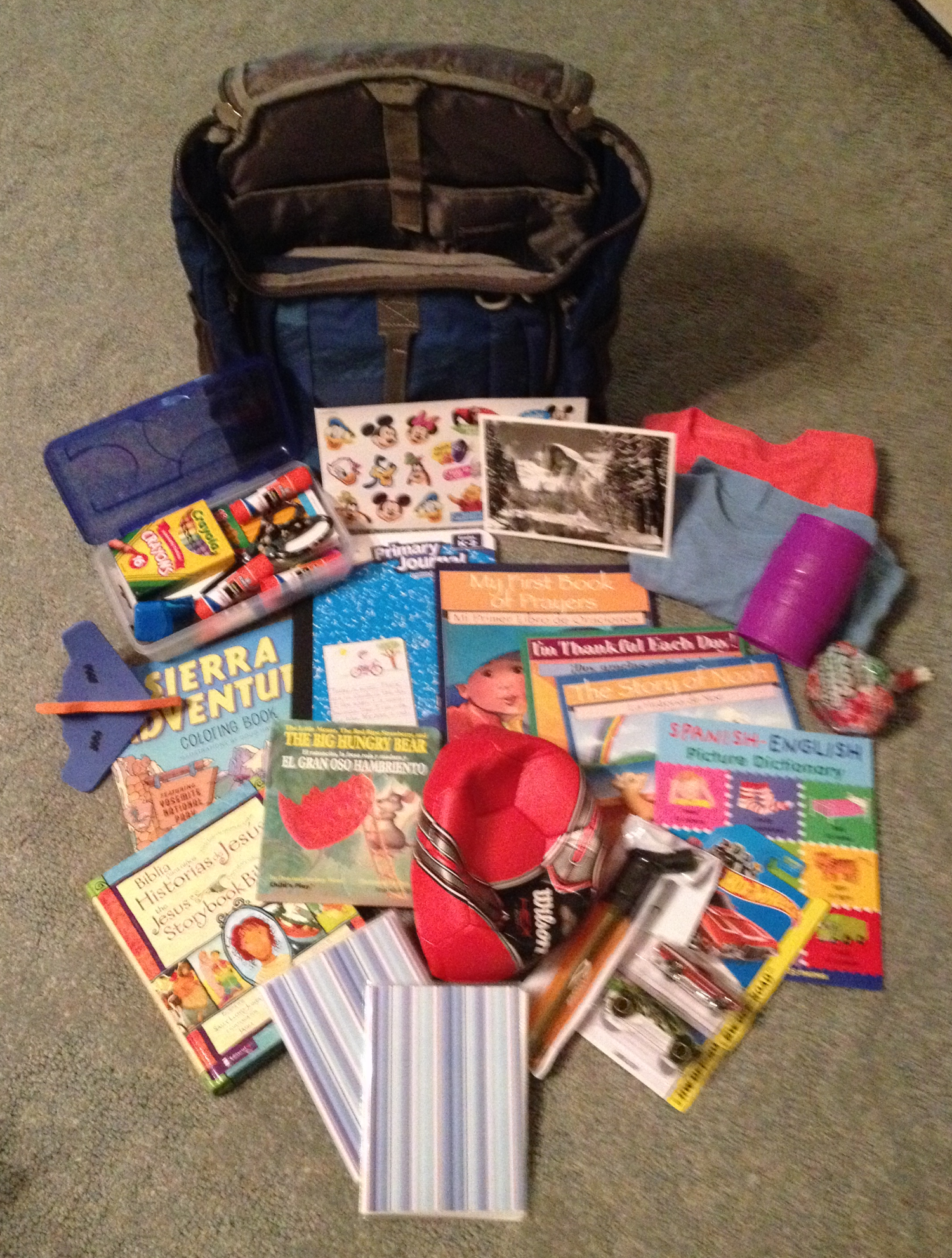 Gifts for Felix, our new Compassion sponsored child we will be visiting with on Saturday!
