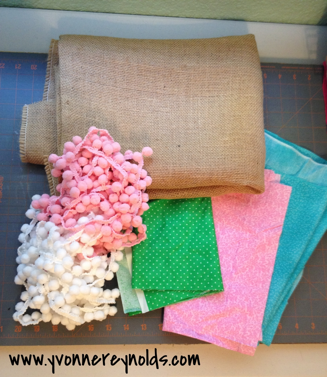 Spring burlap bunting project supplies