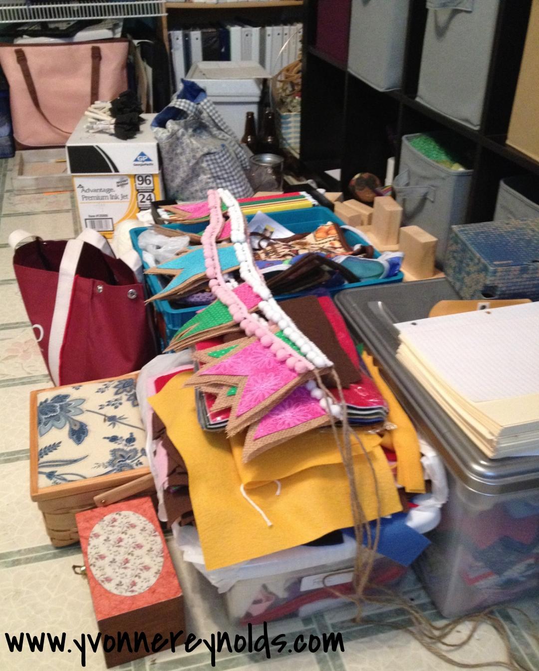 Craft room clutter