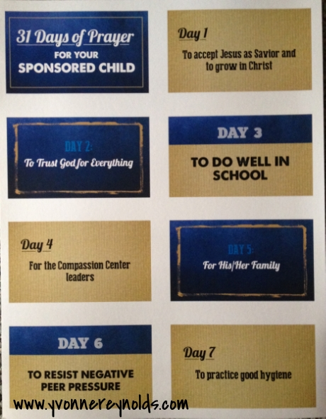 31 Days of Prayer for your Sponsored Child