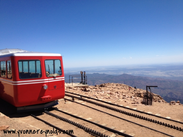 Our Cog Railway train at the top of Pike's Peak