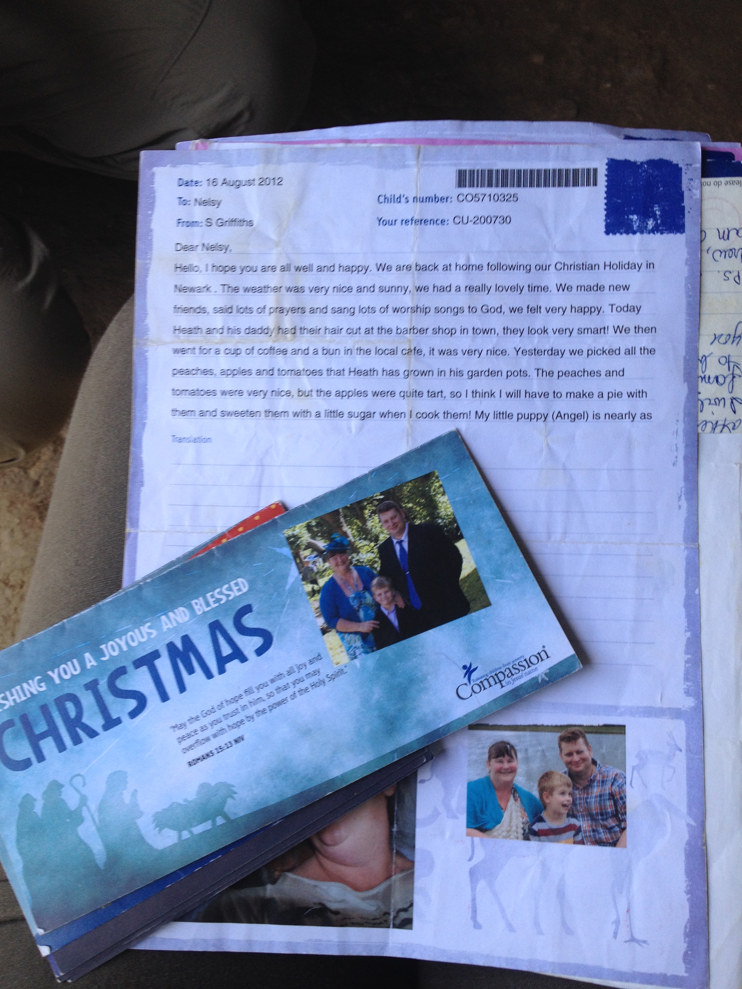 Letters from Nelsy's sponsor