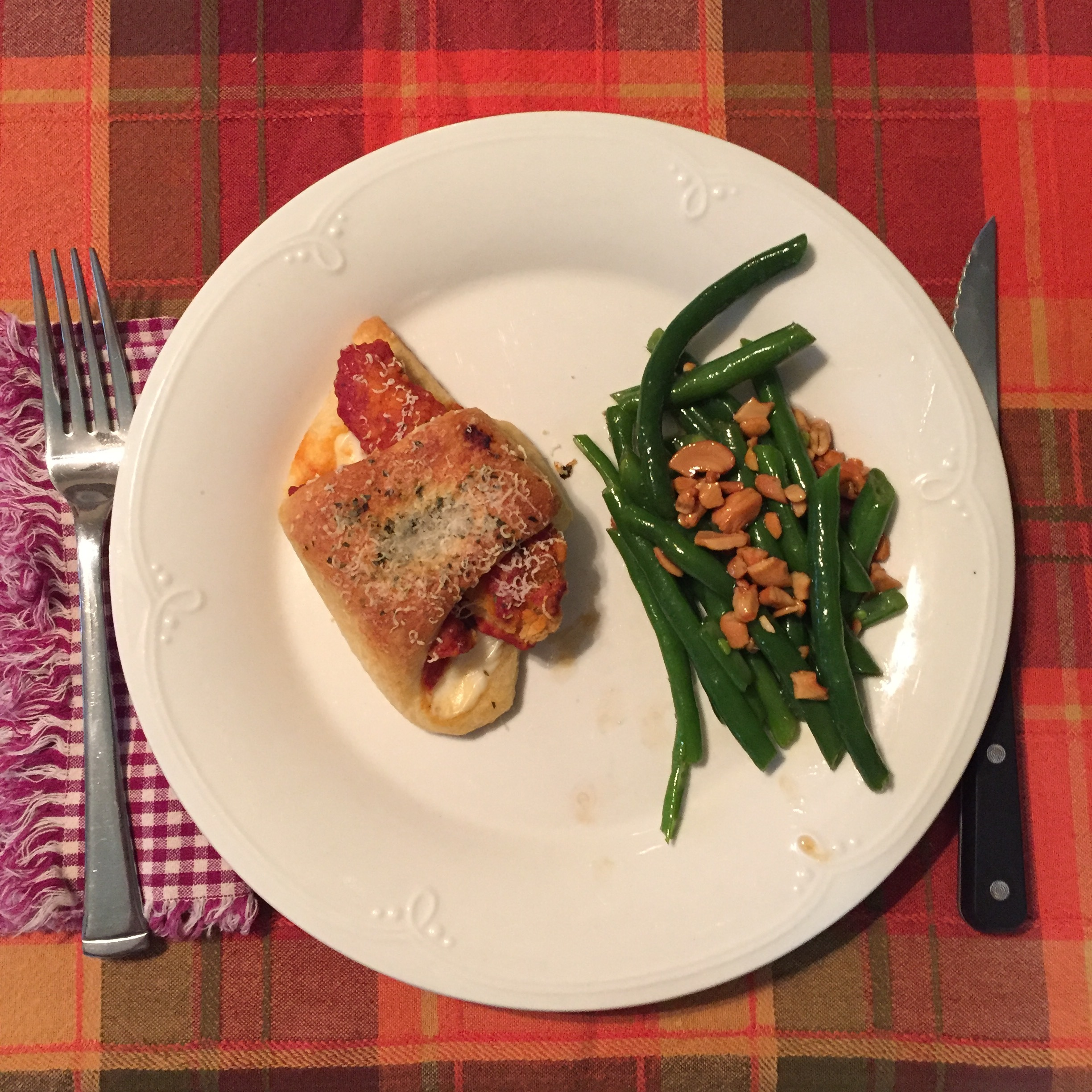 Chicken Parmesan Crescents and Honey Cashew Green Beans