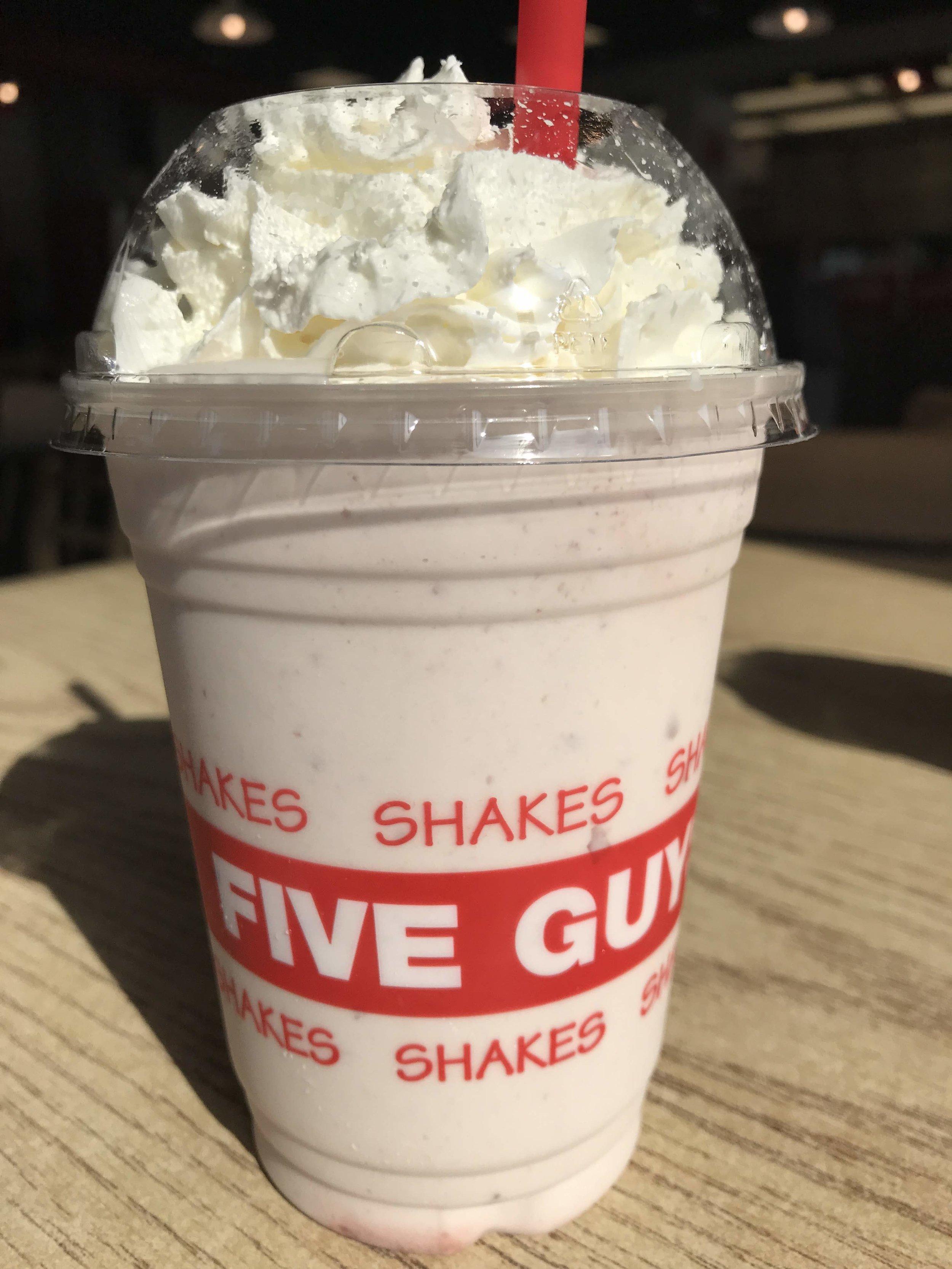 Cherry milkshake at Five Guys