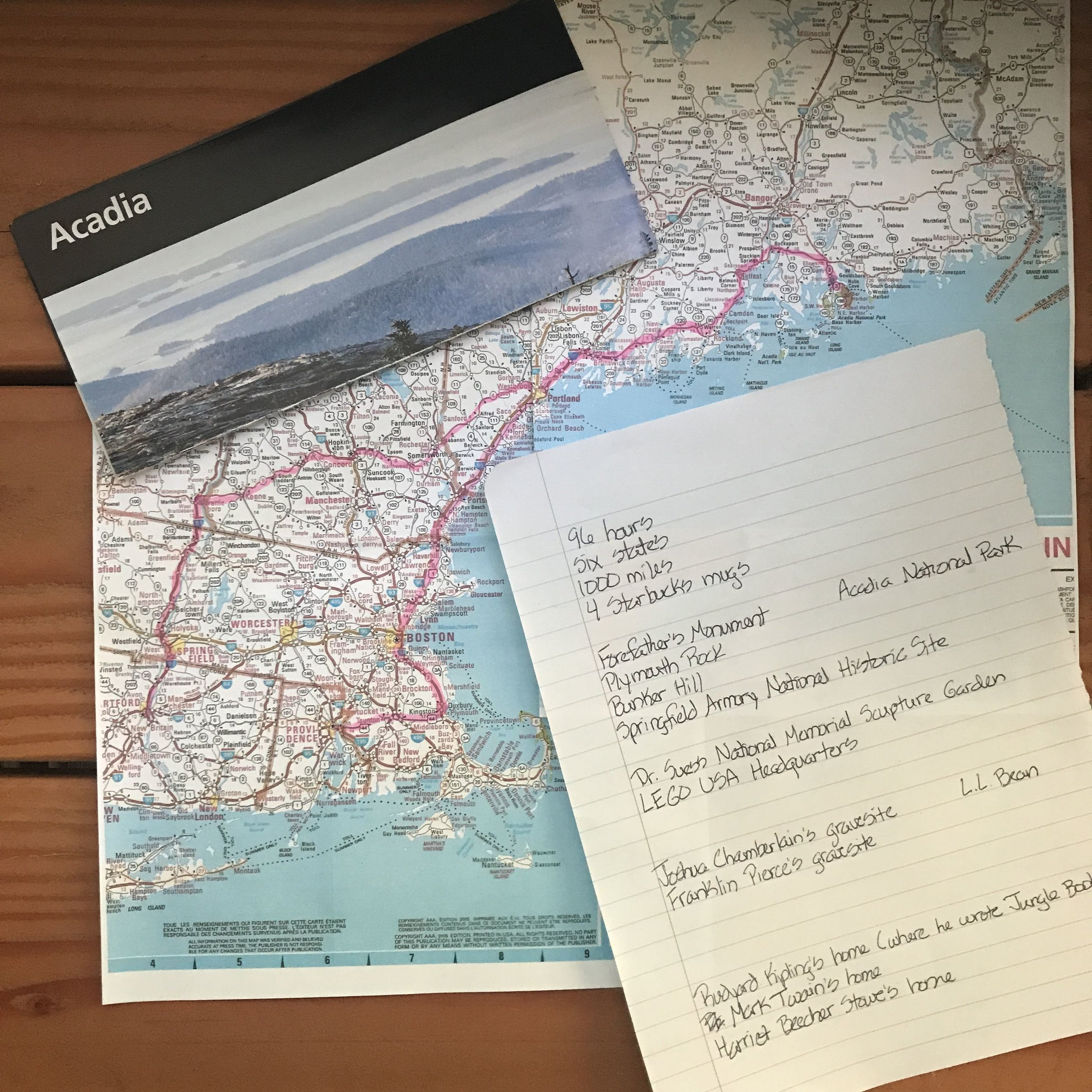 All of the stops on our Northeast trip