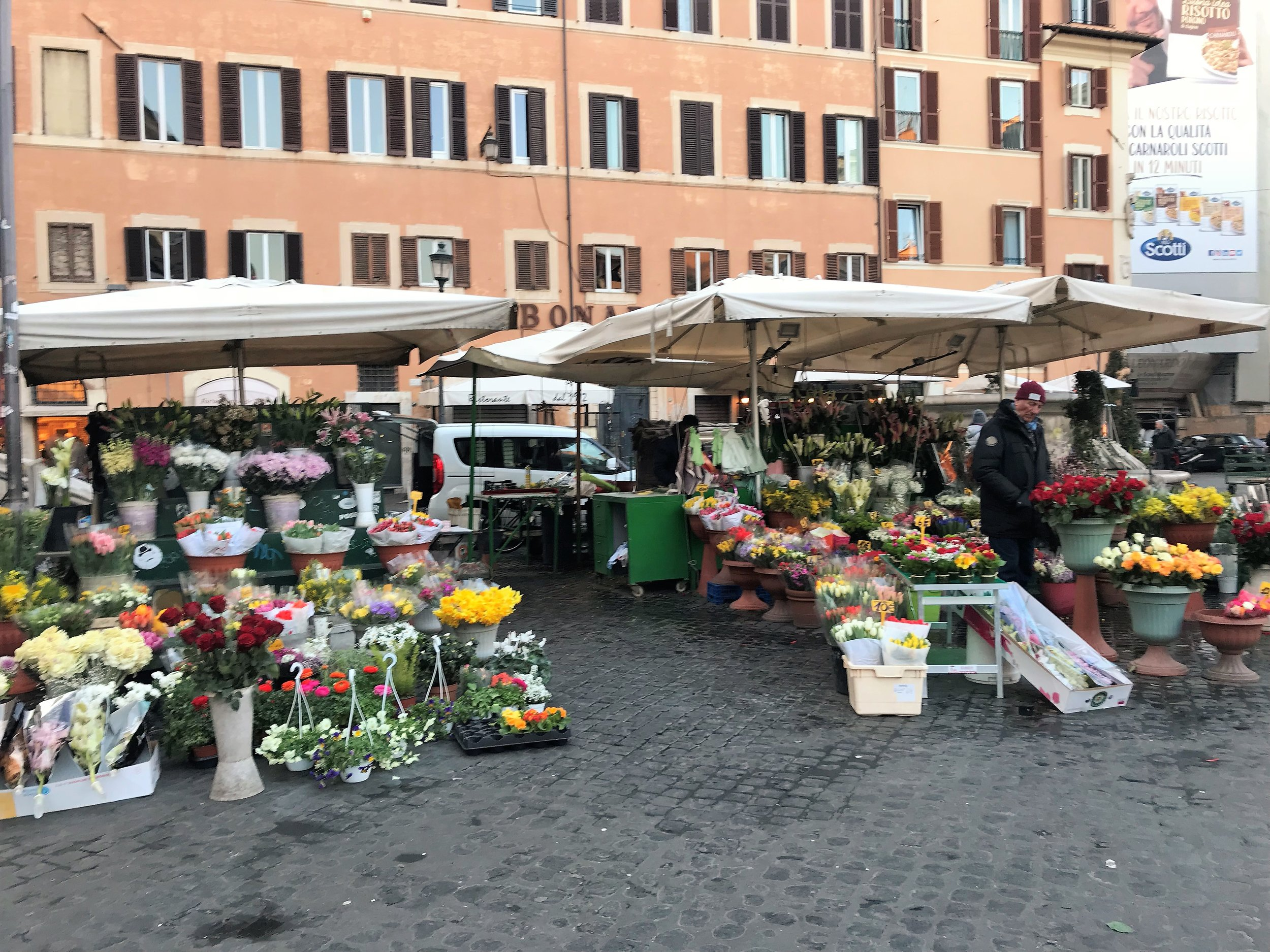 Fresh flowers for sale at Campo de' Fiori