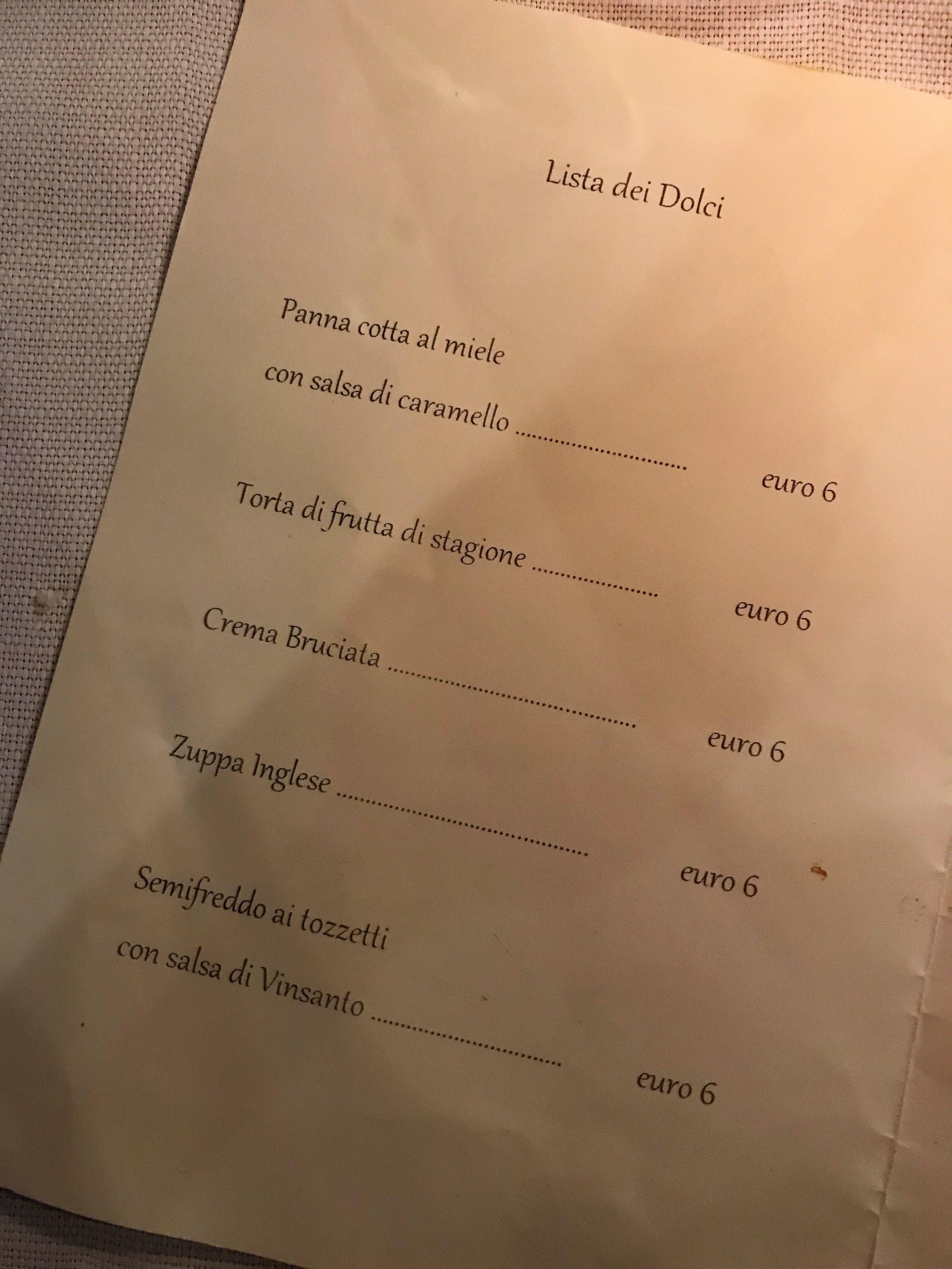 Dessert choices