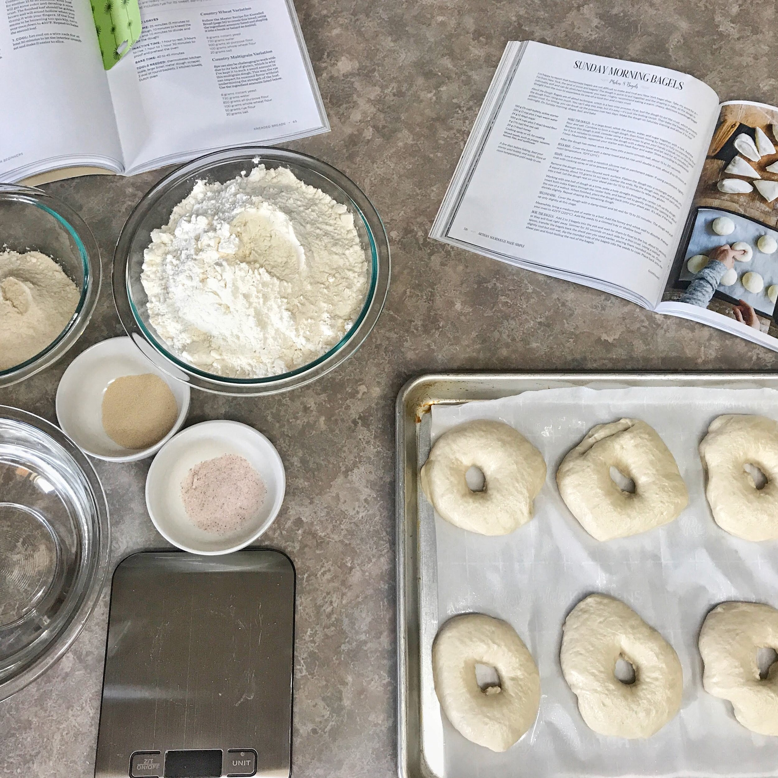 Homemade sourdough bagels