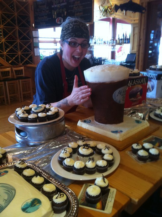 """Celebrating Alaskan Amber's 21st """"birthday"""" with a giant beer cake.    Now that's what I call an Alaskan Pint!"""