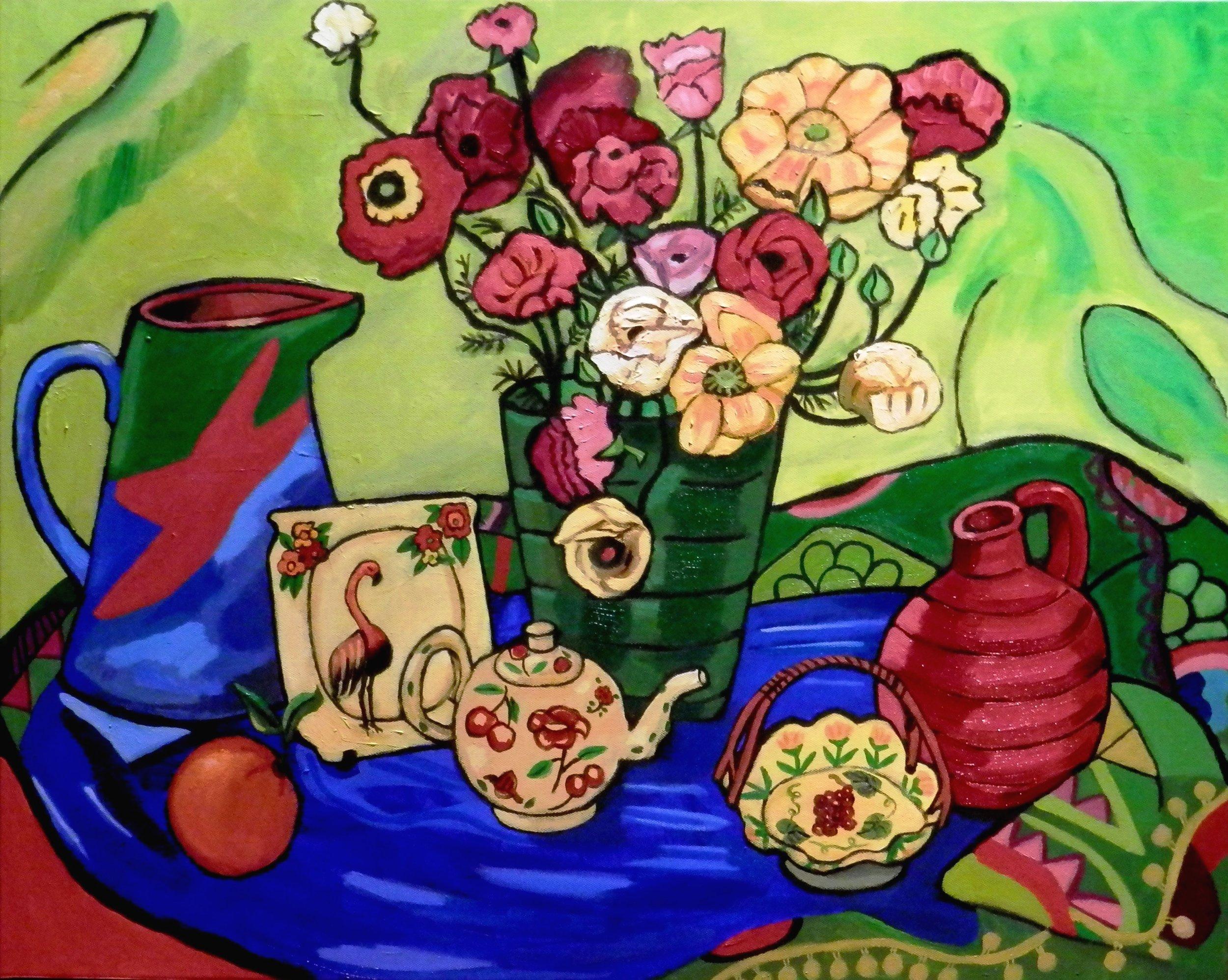 Nasturtiums in green vase - Sharman Feinberg