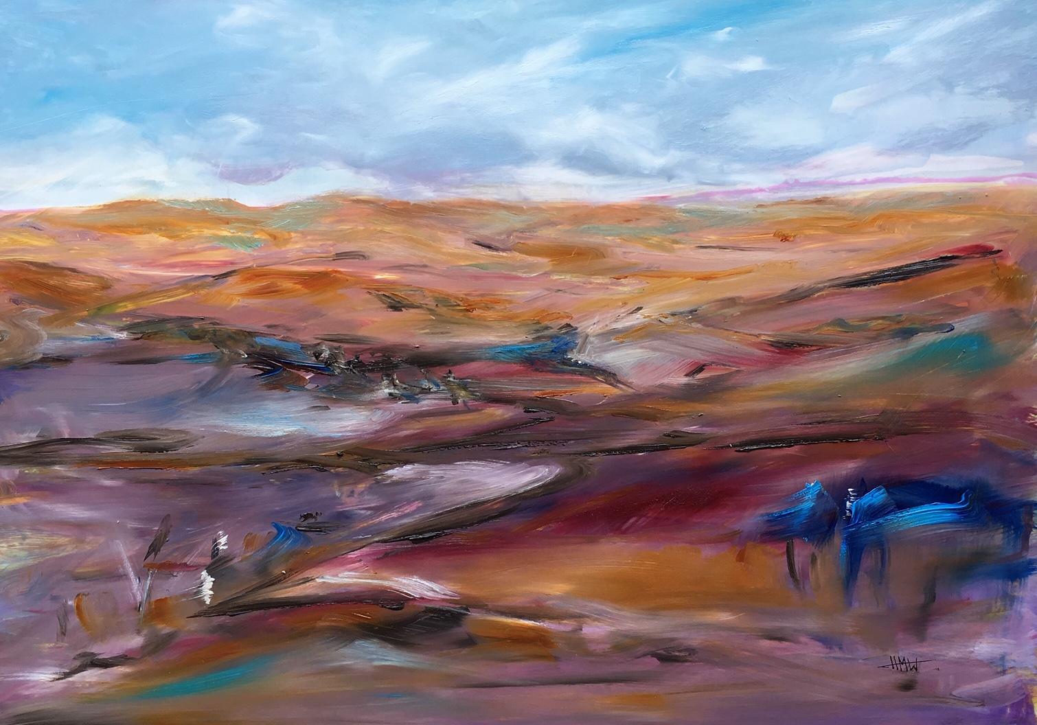 Coober Pedy, early morning - oil on yupo - Helen M White - 63.x50cm.jpg