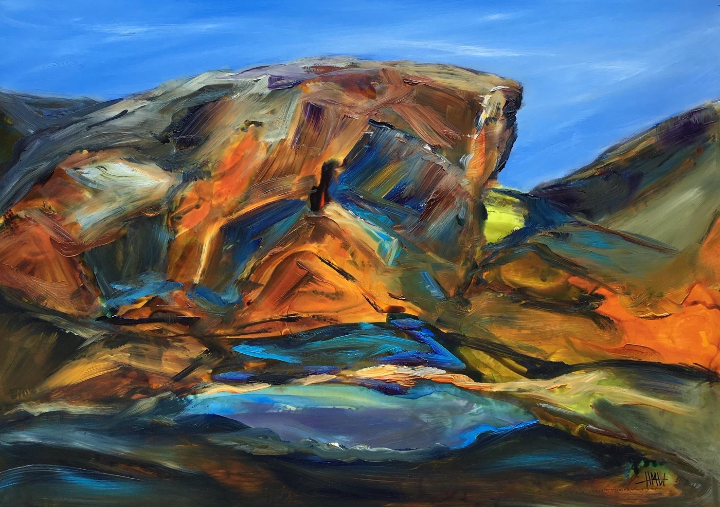 Kings Canyon, waterhole - oil on yupo - Helen M White - 56x45cm.jpg