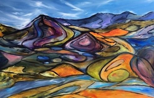 Flinders Ranges - Helen M White - Oil on yupo.jpg
