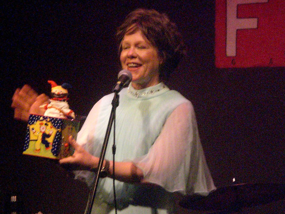 """The  Bible Cabaret's  Joy Fuller tells the story of Easter with """"Jesus in the Box""""....  Photo by Louise Spear"""