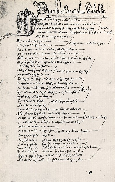 Manuscript page of  The Second Shepherd's Play  Huntington Library, Pasadena, CA