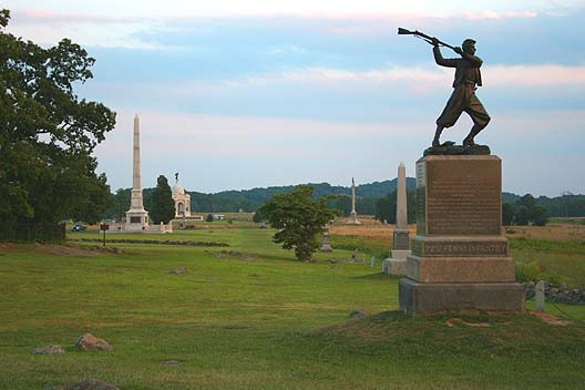 """Gettysburg's """"Cemetary Ridge."""" The least they could do is have an interesting cemetary here...."""