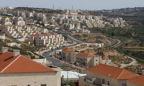 The community of Kiryat Sefer, on the border of the West Bank and Israel, halfway between Tel Aviv and Jerusalem. Red roofs (and the fact that it's built on a hilltop) are loud tell-tale signs that this is a settlement.