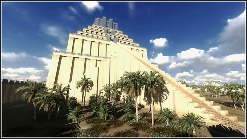 What they guess Etemenaki looked like; it was destroyed once more in the 3rd Century BC by Alexander the Great, who planned to have it rebuilt in his honor. He died before construction began, so the whole thing is now, just memory and dirt.