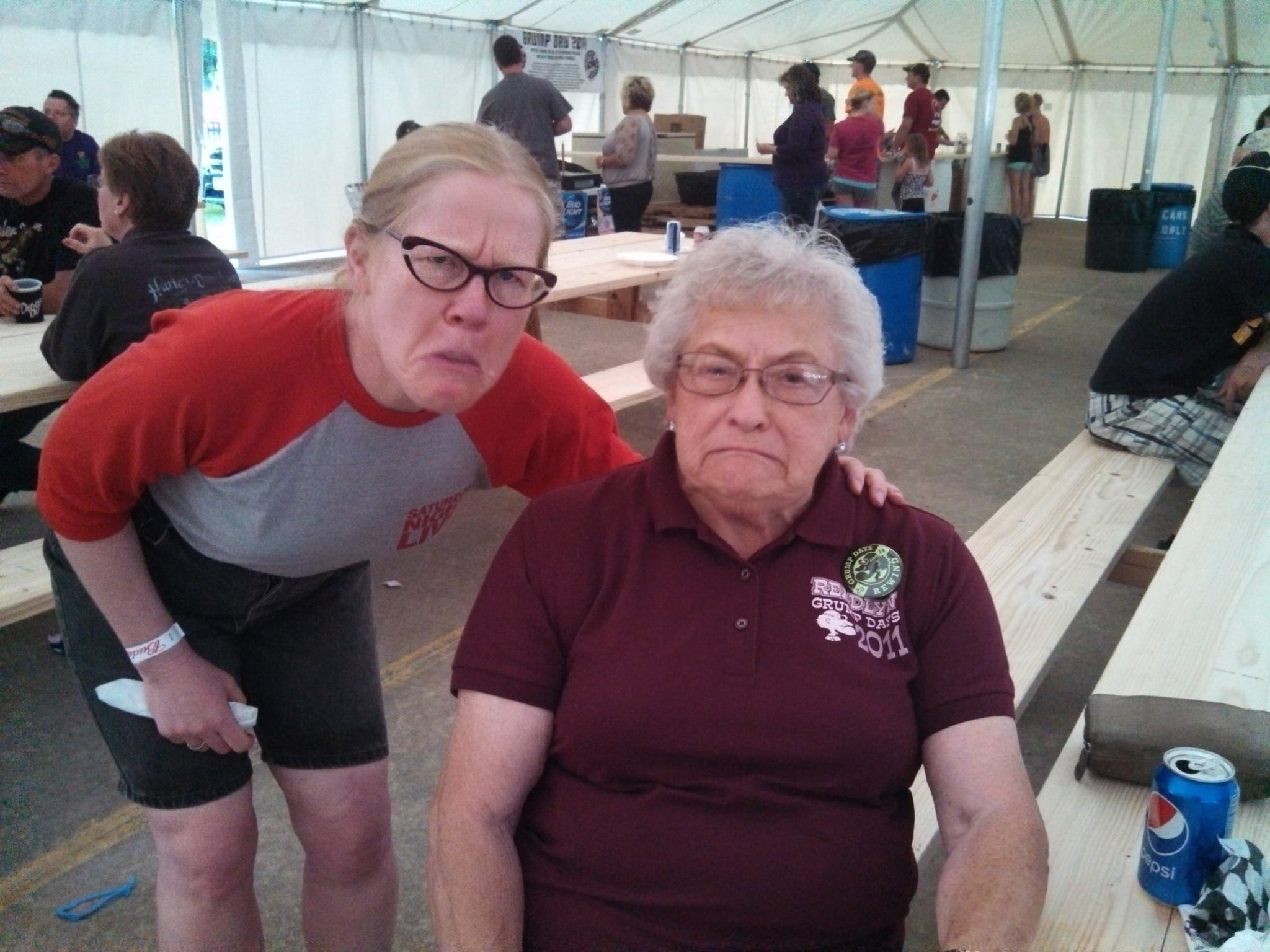 """Readlyn, Iowa's 2014 """"Grump of the Year"""" Jean Buenzow and I doing our imitation of many a New Year's visage...."""
