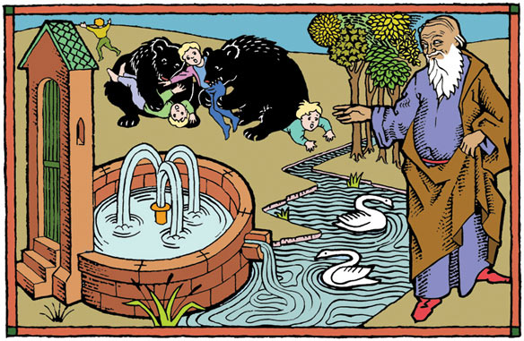 Elisha heals the poisoned waters of Jericho just before he sicks she-bears on children.  How's that for a darkly humorous contrast?
