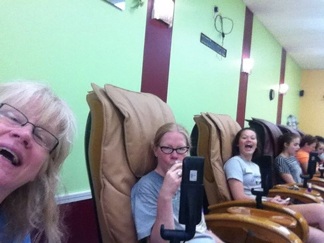 This luddite's whole tech team: nieces Lucy and Gaby are to my right, and their co-producer (ie mom) Clone (ie Nancy) is to my left. Here it's 2013 and we're doing some group bonding over mani pedi's (the grown-ups are enjoying a little Chardonnay, too....).