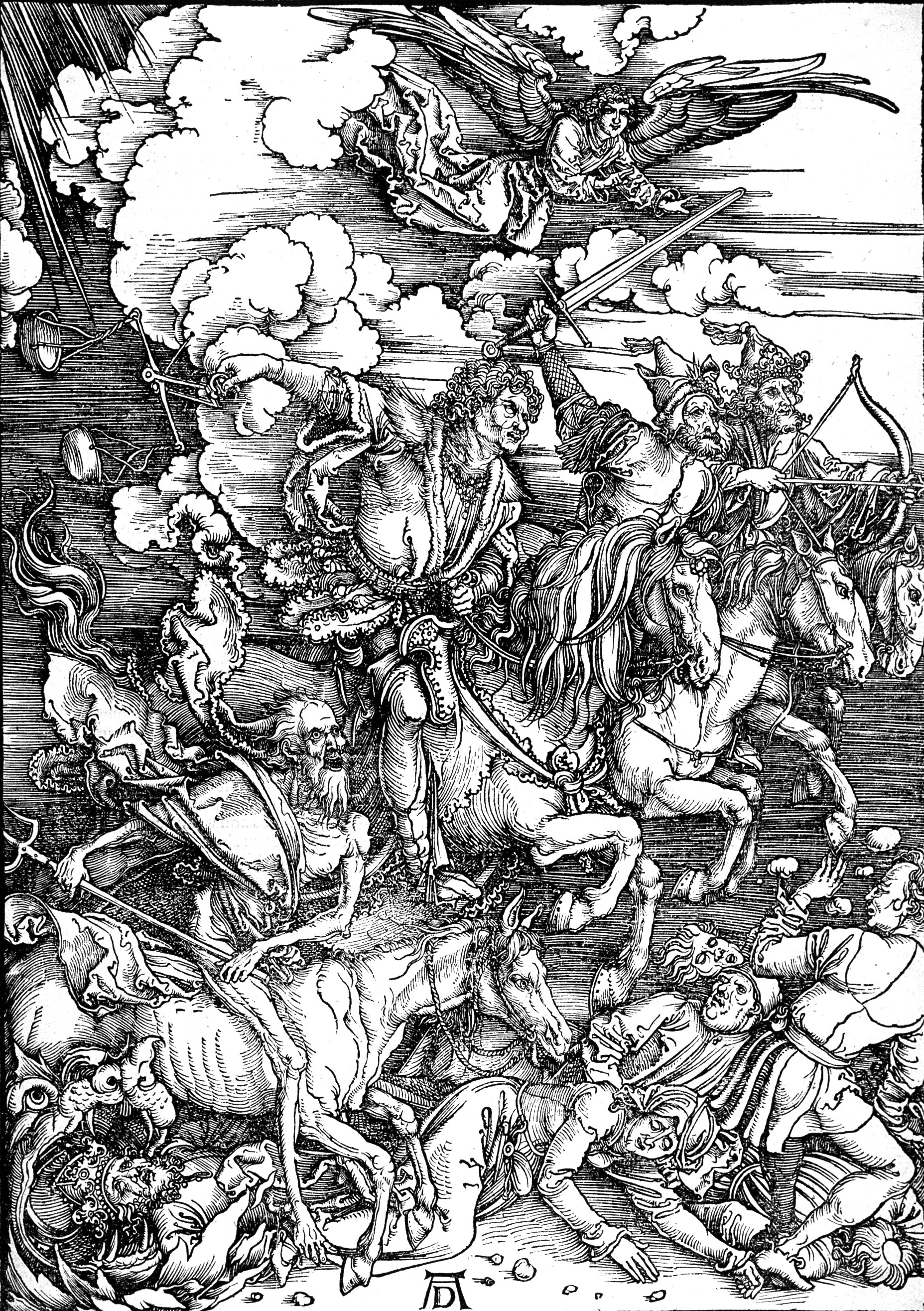 Famous woodcut of the Horsemen by Albrecht Durer, 1498.