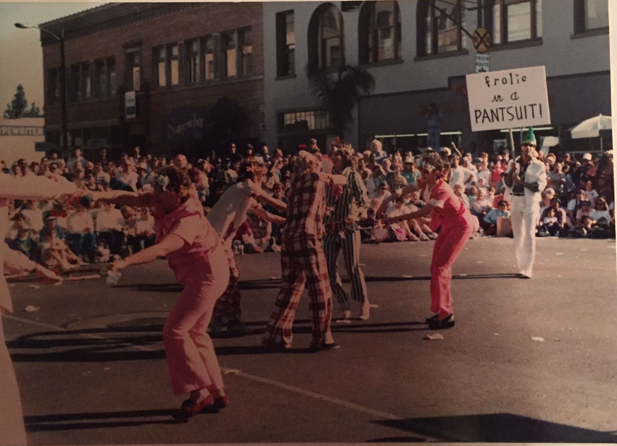 The Pasadena Doo-Dah Parade, 1990. We were voted a fan favorite and pelted with tortillas.