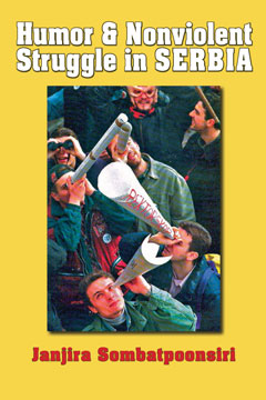 """The cover of this delightful, inspiring book depicts another effective humorous  Outpor!  action titled  """"Looking for the Rector.""""  When the pro-regime rector of Belgrade University acted objectionably, students demanded his resignation. Suddenly, he was AWOL. Students journeyed throughout the city absurdly trying to find him with oversized homemade telescopes.(Photographer unknown. Courtesy of  Vreme  magazine, Belgrade.)"""
