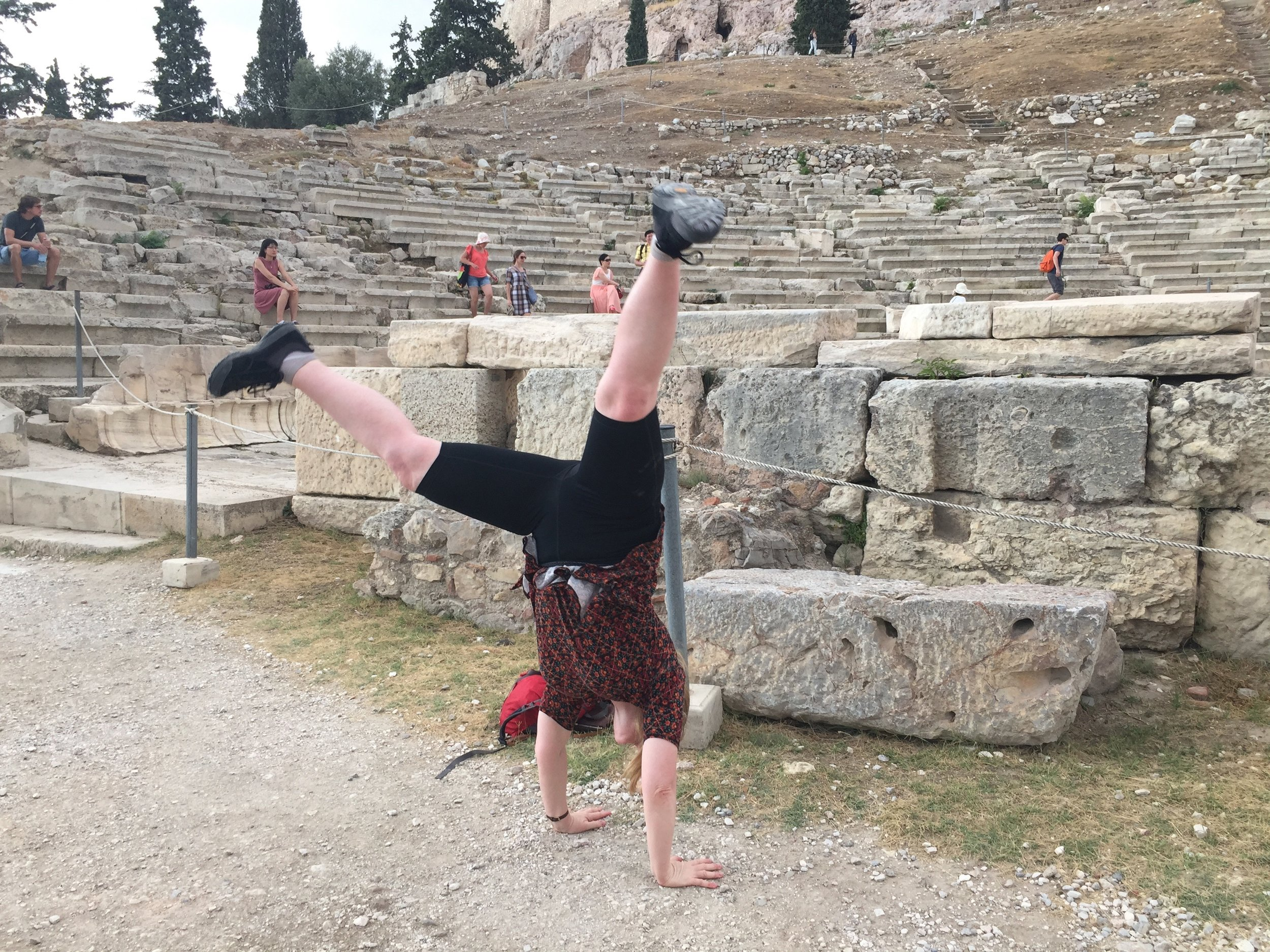 Dionysian Cartwheel at the Parthenon. The origins of Western theatre!