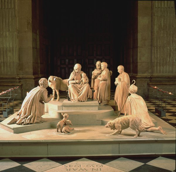 The St. Paul's crib.  I love the dog in the forefront.  Makes the scene cuter, don't you think?  Good to remember what dogs were thought of in the ancient world, too....