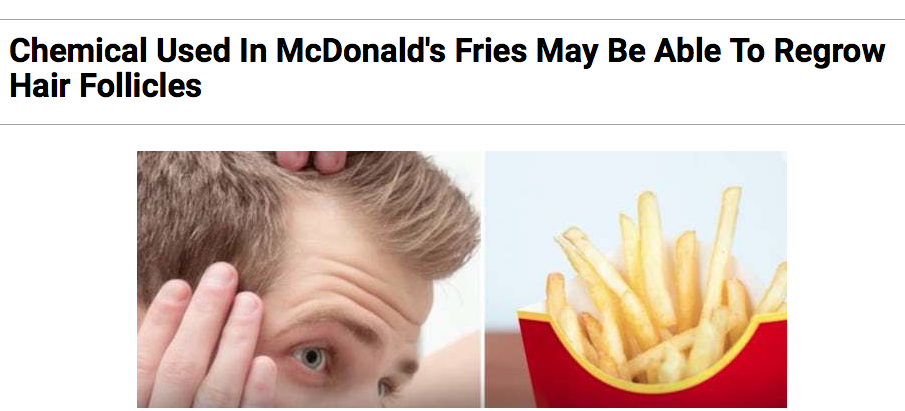 Researchers do not recommend you wear french fries on your head, however.