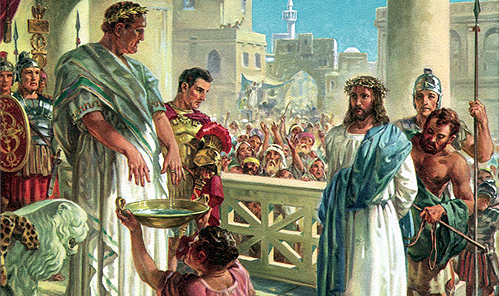 "In Matthew's gospel, when (the Roman governor)  ""saw that he was getting nowhere, but that instead an uproar was starting, he took water and washed his hands in front of the crowd. 'I am innocent of this man's blood,' he said. 'It is your responsibility!'""  (27:24)  Right."