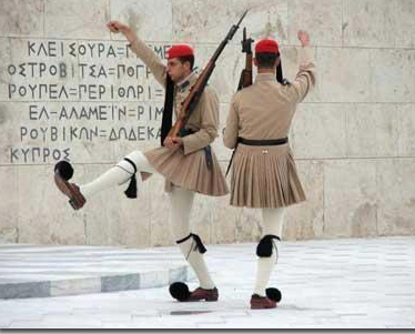No, these Greek soldiers aren't wearing honeymoon slippers. Inside those puff balls the wiley