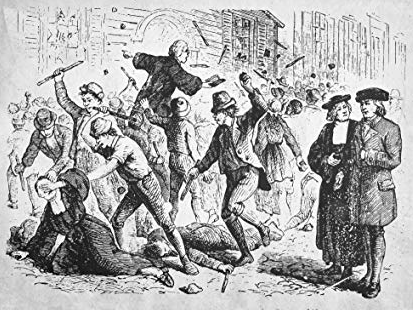 18th century cartoon of anti-Methodist riots. Anglican priests were said to pay locals to rough 'em up for creating a stir against England's state religion. (I just found a website where I can purchase as a beach towel!)