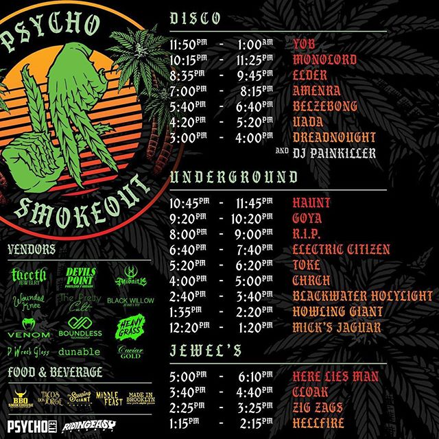 Set times for Saturday's @psychosmokeout